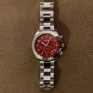 Fossil Stainless Steal Red Faced Watch CH2866